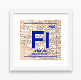 Florida Gators- University of Florida Gainesville Periodic Map ART PRINT