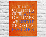 "Florida Gators UF Personalized ""Best of Times"" Art Print Poster Gift"