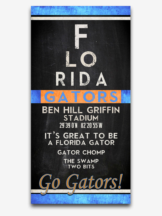 "Florida Gators ""Eye Chart"" ART PRINT"