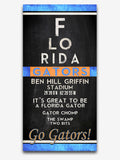 "Florida Gators inspired ""Eye Chart"" ART PRINT, Sports Wall Decor, man cave gift for him, Unframed"