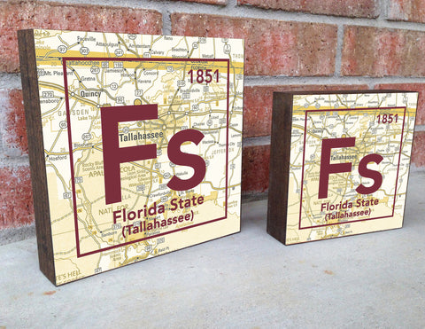 Florida State Seminoles- Periodic Map art print on Wooden Block