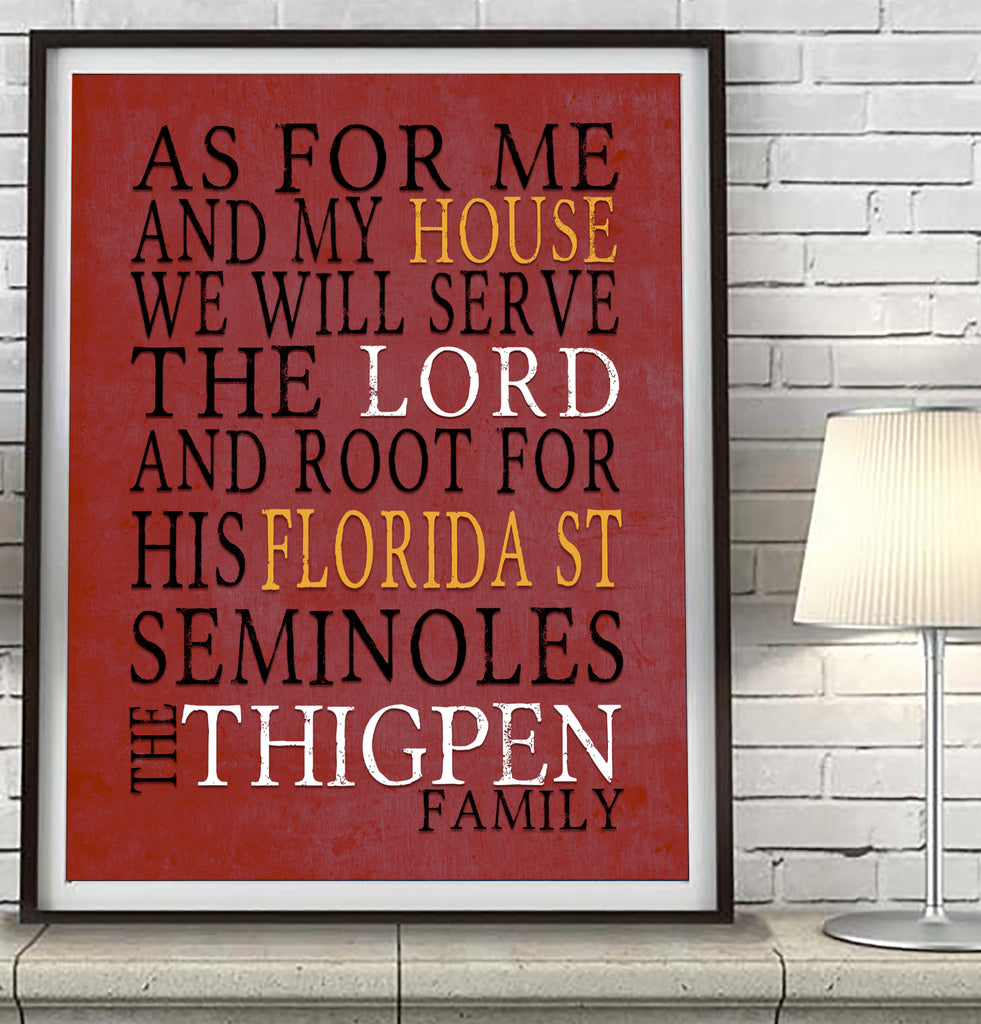"Florida State Seminoles FSU personalized ""As for Me"" Art Print"