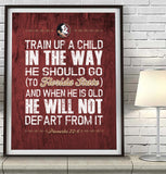 "FSU Florida State Seminoles inspired ""Train Up A Child"" ART PRINT, Sports Wall Decor, kids room/baby room gift, Unframed"