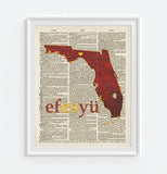 Florida State Seminole FSU Inspired Phonics/Phonetic ART PRINT Using Old Dictionary Pages, Unframed
