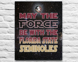 "Florida State Seminoles inspired football ""May the Force Be With You"" ART PRINT, Sports Wall Decor, man cave gift for him, Unframed"