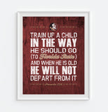 "FSU Florida State Seminoles ""Train Up A Child"" Art Print Poster Gift"