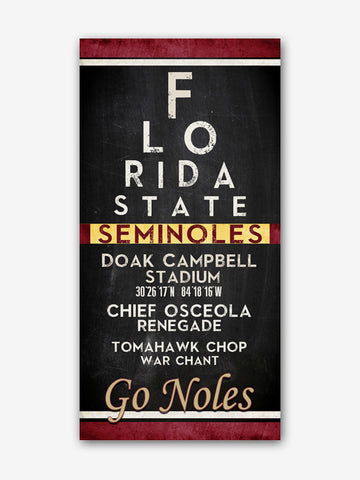 "Florida State University FSU Seminoles ""Eye Chart"" ART PRINT"