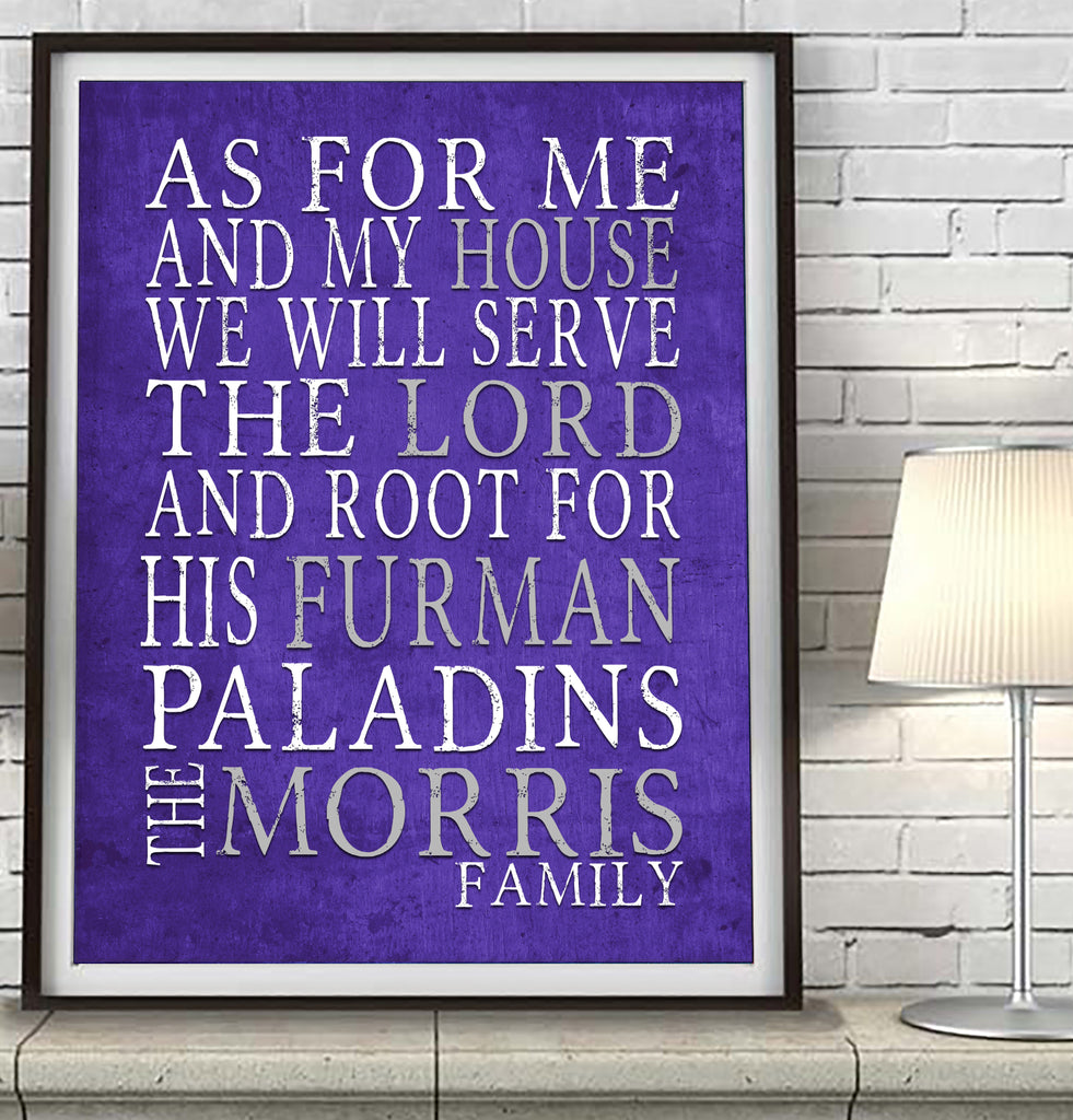 "Furman Paladins personalized ""As for Me"" Art Print"