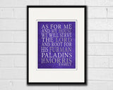 "Furman Paladins inspired Customized Art Print- ""As for Me"" Parody- Unframed Print"