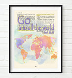 Go into all the world- Mark 16:15 -Vintage Bible Highlighted Verse Scripture Page- Christian Wall ART PRINT