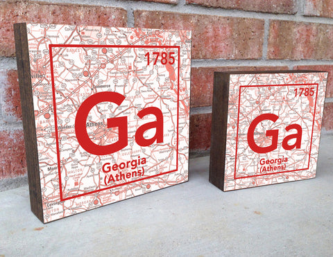 Georgia Bulldogs- Periodic Map art print on Wooden Block
