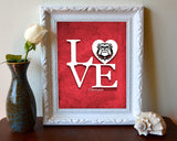 "Georgia Bulldogs inspired ""Love"" ART PRINT, Sports Wall Decor, man cave gift for him, Unframed"
