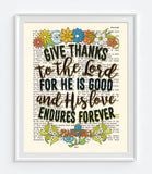 Give Thanks - His Love Endures Forever - Psalm 106:1 Bible Verse Page Christian Art Print