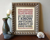 People Sometimes Attribute My Success to My Genius...Alexander Hamilton Quote - Dictionary Art Print
