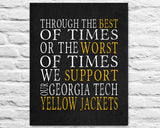 "Georgia Tech Yellow Jackets Personalized ""Best of Times"" Art Print Poster Gift"