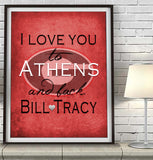 "Georgia Bulldog personalized ""I Love You to Athens and Back"" Art Print Poster Gift"