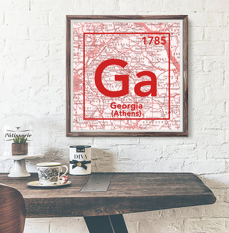 Georgia Bulldogs- University of Georgia Athens-Vintage Periodic Map ART PRINT -Unframed