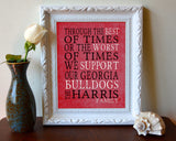 "Georgia Bulldogs UGA Personalized Customized Art Print- ""Best of Times"" Parody- Charles Dickens-  Unframed Print"