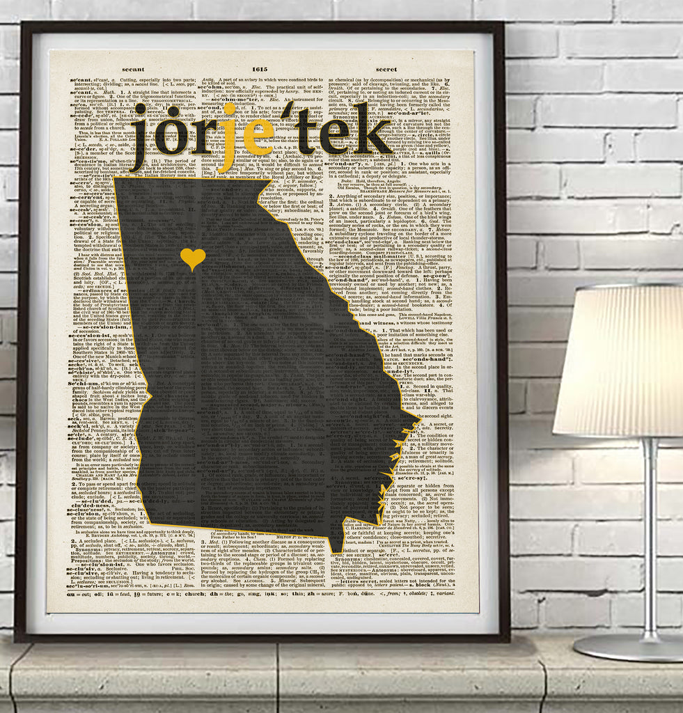 Georgia Tech Yellow Jackets Phonics/Phonetic Art Print - Christmas poster gift