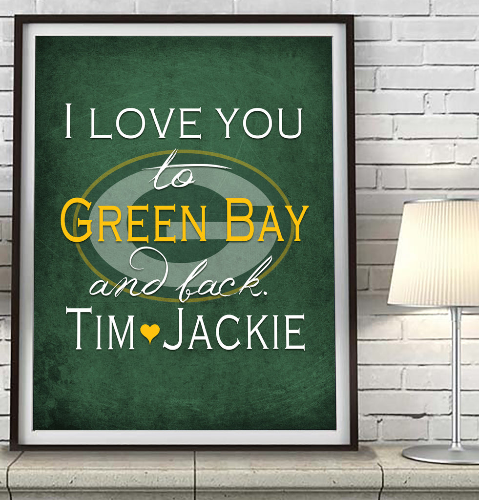 "Green Bay Packers personalized ""I Love You to Green Bay and Back"" Art Print Poster Gift"