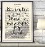 Be truly glad, there is wonderful joy ahead - 1 Peter 1:6 Bible Page ART PRINT