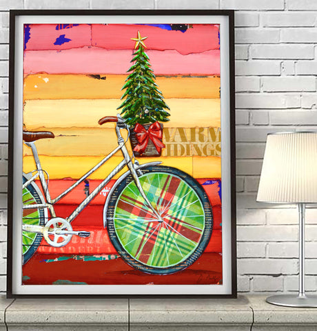 Go Christmas Tree - Danny Phillips Fine Art Print, Christmas Tree in Bike Basket, UNFRAMED, All Sizes