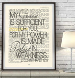 My grace is sufficient for you-2 Corinthians 12:9 Bible Page ART PRINT
