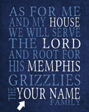 "Memphis Grizzlies Personalized ""As for Me"" Art Print"