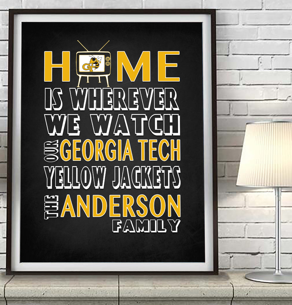 "Georgia Tech Yellow Jacket Personalized ""Home is"" Art Print Poster Gift"