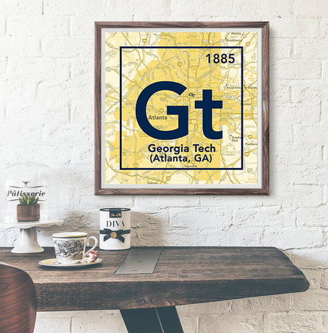 Georgia Tech University Yellow Jackets Atlanta GA -Vintage Periodic Map ART PRINT -Unframed