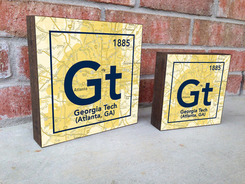 Georgia Tech Yellow Jackets- Periodic Map art print on Wooden Block