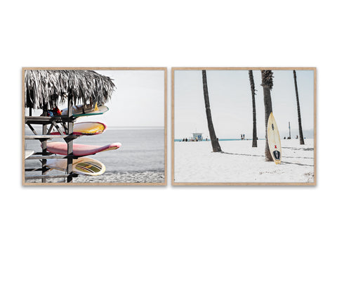 Faded Vintage Hawaiian Surfboards Fine Art Photography Prints, Set of 2, Coastal Wall Decor