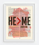 HE>ME - John 3:30 - Vintage Bible Highlighted Verse Scripture Page- Christian Wall ART PRINT -Unframed
