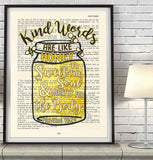 Kind words are like honey- Proverbs 16:24-Vintage Bible Highlighted Verse Scripture Page- Christian Wall ART PRINT