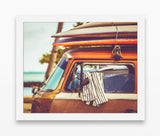 Hawaiian Beach Surfboard and Volkswagen Van Bus Photography Prints, Set of 2