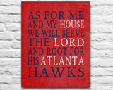 "Atlanta Hawks  Personalized ""As for Me"" Art Print"