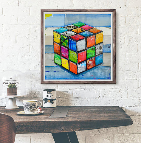 Hip 2 B Square - Rubik's cube mixed media collage - Danny Phillips Fine Art Print