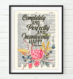 Completely and Perfectly and Incandescently Happy - Jane Austen Quote - Dictionary Art Print