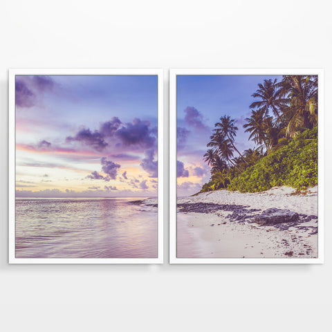Tropical Island Paradise Beach Fine Art Photography Prints, Set of 2