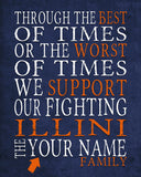"Illinois Fighting Illini Personalized ""Best of Times"" Art Print Poster Gift"