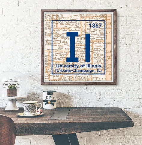 Fighting Illini- University of Illinois Urbana-Champaign- Vintage Periodic Map ART PRINT
