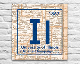 Fighting Illini- University of Illinois Urbana-Champaign Periodic Map ART PRINT