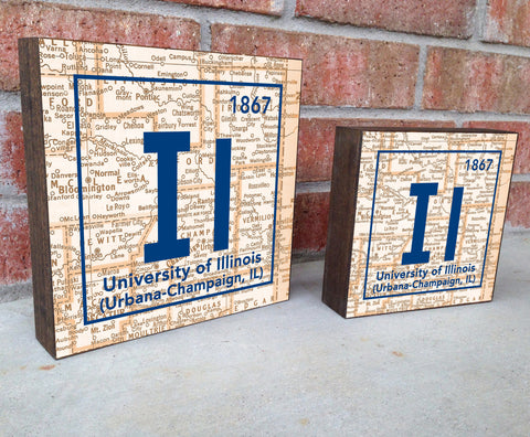 Illinois- Periodic Map art print on Wooden Block