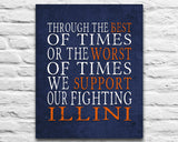 "Illinois Fighting Illini Personalized Customized Art Print- ""Best of Times"" Parody- Charles Dickens-  Unframed Print"