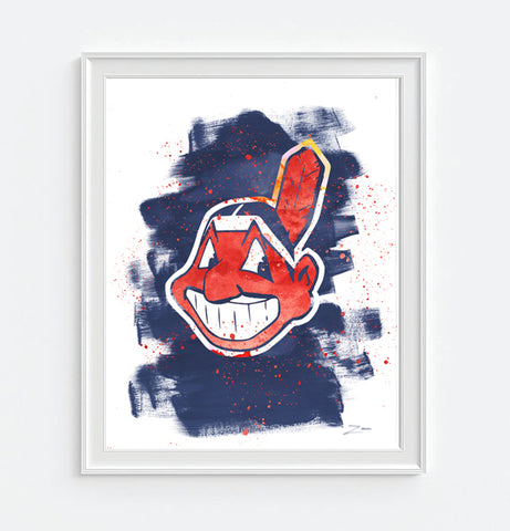 Cleveland Indians Watercolor Art Print Poster Gift
