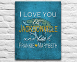 "Jacksonville Jaguars Jags inspired & personalized ""I Love You to Jacksonville and Back""parody ART PRINT - Unframed"