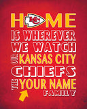 "Kansas City Chiefs Inspired Personalized & Customized ART PRINT- ""Home Is"" Parody Retro Unframed Print"
