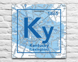 Kentucky Wildcats- University of Kentucky Lexington Periodic Map ART PRINT