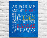 "Kansas Jayhawks personalized ""As for Me"" Art Print Poster Gift"