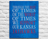 "Kansas Jayhawks Personalized Customized Art Print- ""Best of Times"" Parody- Charles Dickens-  Unframed Print"